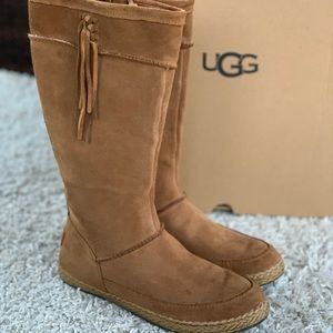 UGG Emerie Tall Suede Fringe Boots Chestnut Zipper Knee High With Box Braided EU